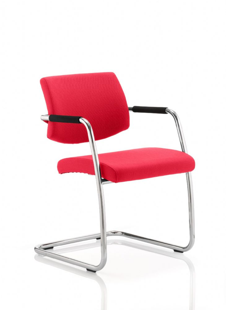 Havanna Universal Visitors Chair Chrome Cantilever Frame Padded Arms Various Fabric Colour Options